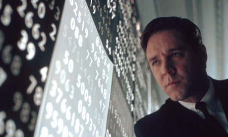 Russell Crowe portays John Nash, in the film A Beautiful Mind