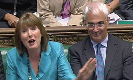 Harriet Harman and Alistair Darling at prime minister's questions on 30 June 2010.
