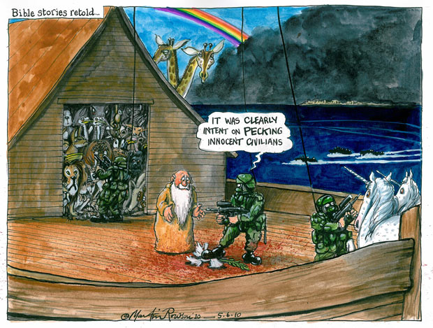 Martin Rowson cartoon on the Gaza flotilla attack - Israel defends intensity of military force after autopsy results reveal total of 30 bullets in bodies of nine protesters