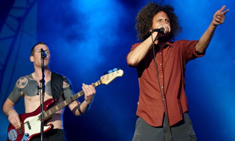 Rage Against the Machine performing at Finsbury Park, London. Photograph: Phil Bourne/Retna Pictures