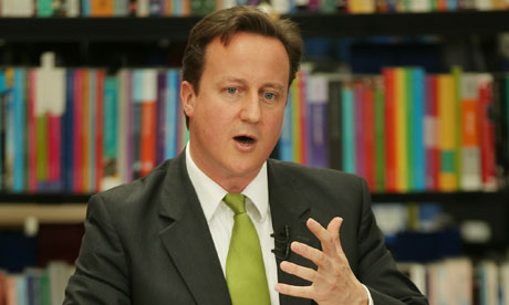 David Cameron discussing spending cuts in Milton Keynes on 7 June 2010.