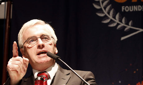 John McDonnell at a Labour leadership hustings on 7 June 2010.