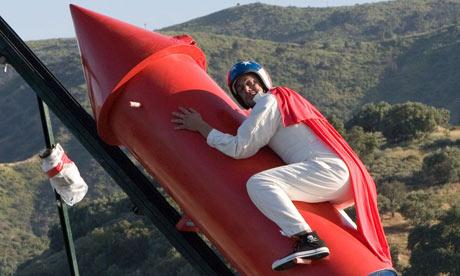 MTV Jackass's Johnny Knoxvilleer sits on rocket