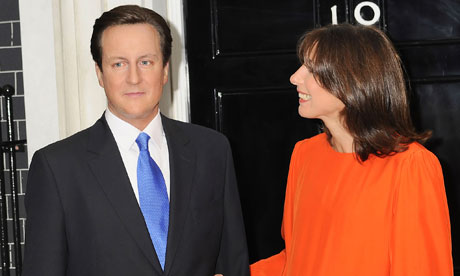 Samantha Cameron with a Madame Tussauds waxwork of her husband David on 1 July 2010.