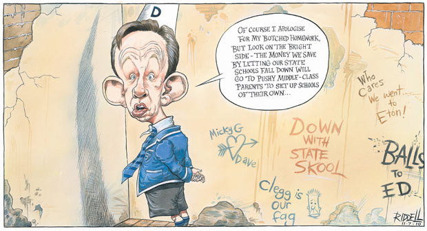 Michael Gove's botched homework plan (Chris Riddell © 2010)