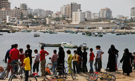 Palestinians gather at the port in Gaza city