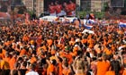 Dutch soccer fans gather to support their team in Amsterdam