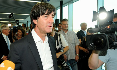 German national coach Joachim Löw arrives home from the World Cup.