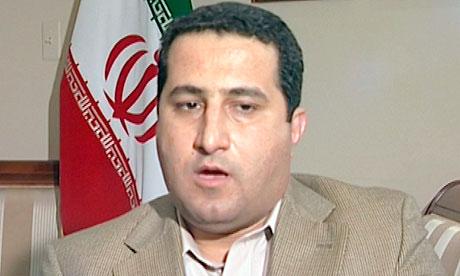 Screengrab of a man identifying himself as Shahram Amiri speaks at Pakistan's embassy in Washington