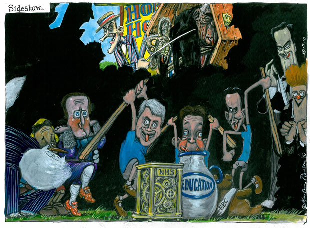 19.07.2010: Martin Rowson on the Tory spending cut sideshow