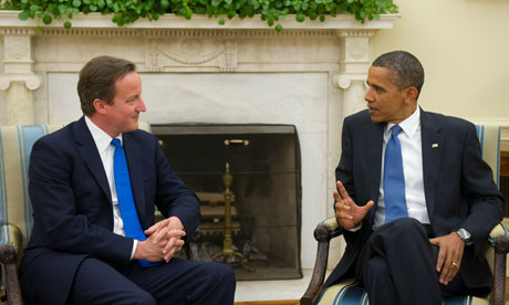 Barack Obama meets with Prime Minister David Cameron in the Oval Office.