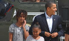 Barack, Malia and Sasha Obama