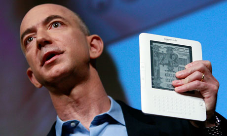 Jeff Bezos with a Kindle