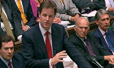 deputy Prime Ministe Nick Clegg during Prime Ministers Questions in London
