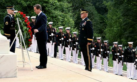 David Cameron lays a wreath at Arlington National Ceremony