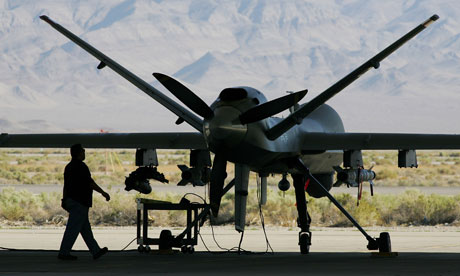 A reaper, like those used in Afghanistan, pictured at a US air force base