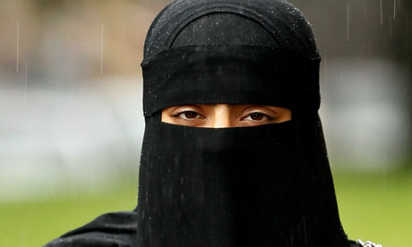 Muslim woman wearing the controversial Niqab