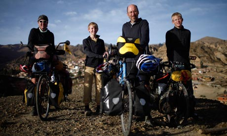 The Vogel family with their bicycles in the outskirts of La Paz, Bolivia