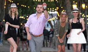 Diane Kruger and Joshua Jackson enjoy a game of boule at the Chanel Party in St Tropez