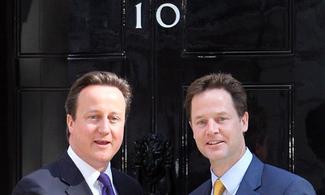 David Cameron and Nick Clegg outside No 10