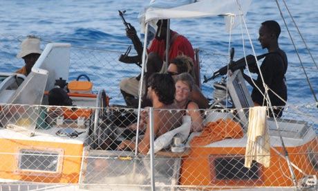 Hostages aboard the Tanit, one of several French yachts hijacked by Somali pirates