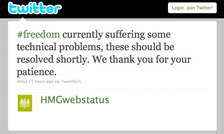 Government web status Twitter alert