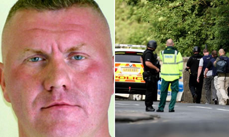 Composite crop of Raoul Moat and police in Rothbury