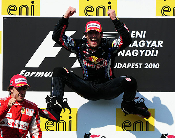 Hungarian grand prix: Mark Webber of Australia and Red Bull Racing celebrates on the podium