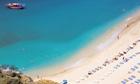 Boat and beach, Antalya, Anatolia, Turkey Minor, Eurasia