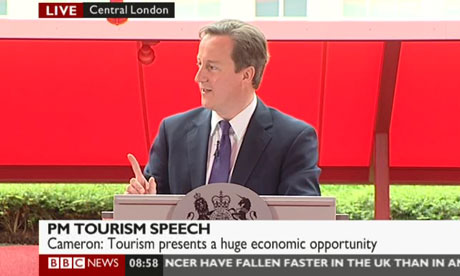 David Cameron at Jean Nouvel's Serpentine pavilion in London on 12 August 2010.