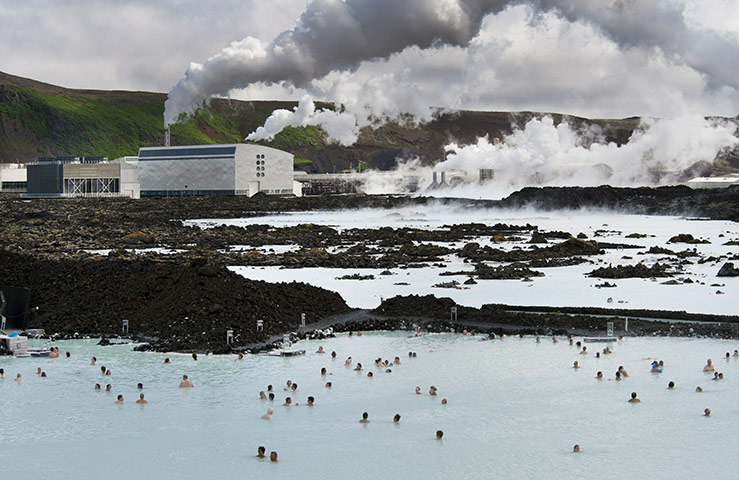 Week in Business: Tourists at the Blue Lagoon in Svartsendi, Iceland.