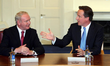 Martin McGuinness with David Cameron at Stormont in May 2010.
