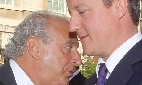 Sir Philip Green and David Cameron in July 2010.