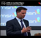 Nick Clegg in a live Q&A at MSN's offices in London on 16 August 2010.