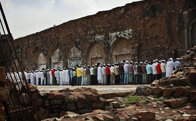 Ramadan: Muslims at Friday prayers at the Feroz Shah Kotla Mosque in New Delhi
