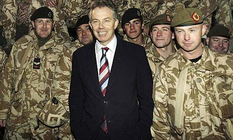 Tony Blair with British soldiers on duty in Basra in 2006
