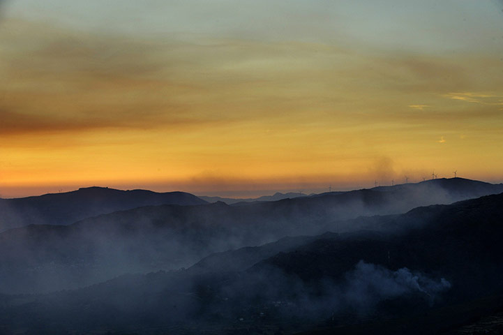 Smoke caused by forest fires rises from the Peneda-Geres national park