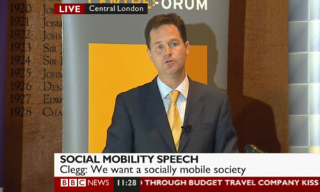 Nick Clegg giving a speech on social mobility on 18 August 2010.