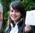 Kim Hay, 18, from Gosforth, Newcastle, celebrates getting her A-level results on 19 August 2010.