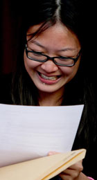 Heather Chung of Withington high school sheds a tear as she gets her A ...