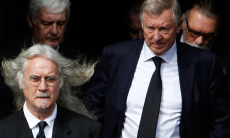 Billy Connolly and Sir Alex Ferguson at Jimmy Reid's funeral