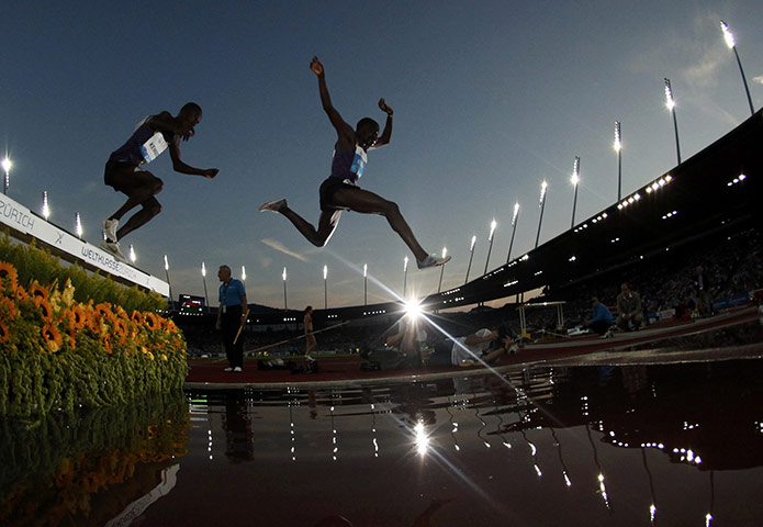 24 hours: Zurich, Switzerland: Kemboi and Koech compete in the steeplechase