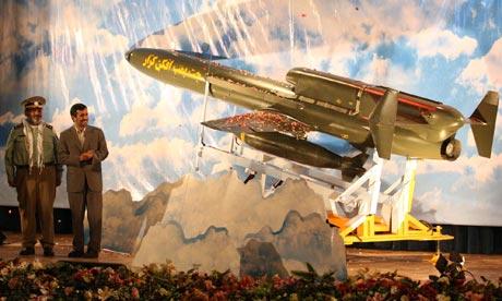 Mahmoud Ahmadinejad at a ceremony inaugurating Iran's new long-range unmanned bomber aircraft
