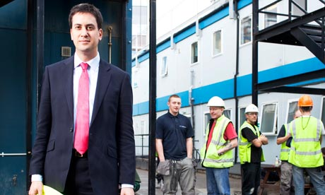 Ed Miliband visits the new Media City construction site in Salford on 17 August 2010.