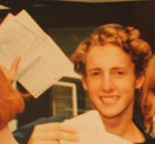Paul Owen (second left) receives his GCSE results in 1995.