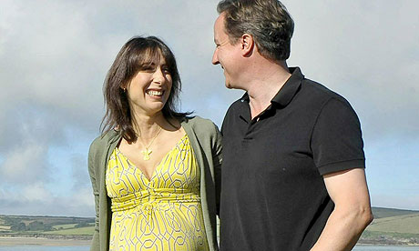 David and Samantha Cameron on holiday in Cornwall
