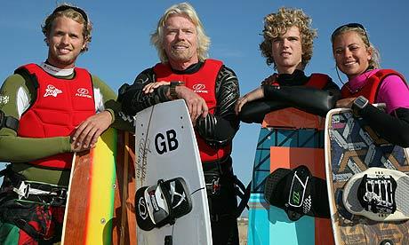 Richard Branson kiteboard record attempt
