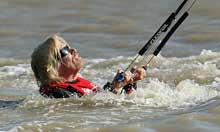 Richard Branson prepares to kiteboard across the English Channel