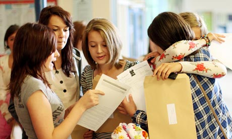 Pupils at the Barclay School, Stevenage receive their GCSE results on 24 August 2010.