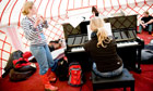 Emily Andrews and Eva Thyri Hilmarsdottir rehearse in a yurt at the Serenata festival